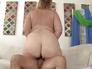 Plus-size cougar Lila nice railing mature wood
