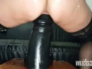 Giant faux-cocks destroy her thirsty cootchie