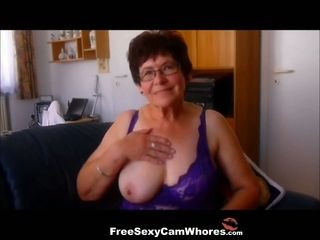 Fun loving old lady likes to show off her well matured breasts