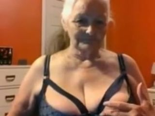 Grandmother 68 years demonstrates humungous breasts and snatch