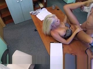 Therapists warm blond wifey requests his wad in his office