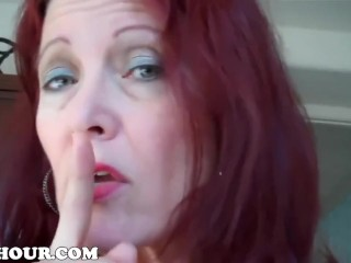 Super-naughty step-mom CATCHES sonny tugging OFF