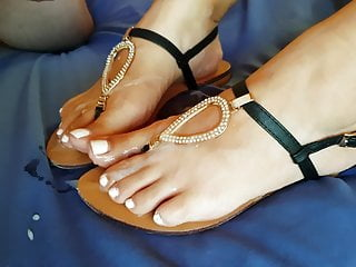 Jizm on my luxurious wife's soles and sandals