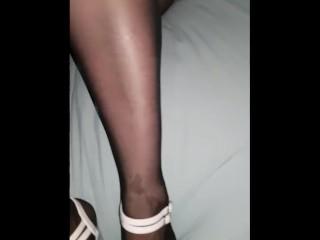 Nylon footjob, far broad in the beam cumshot