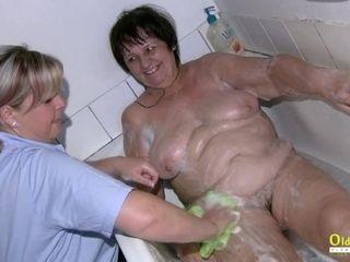 OldNannY taking hold of grandma While Taking a bathtub