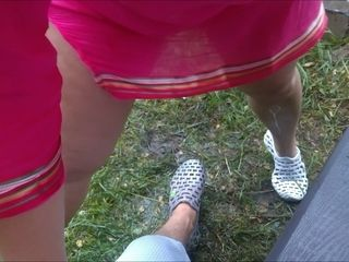 Wifey peeing on hubbies gam outdoor - fledgling Russian duo