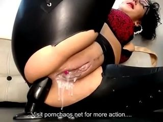 Dark-haired mature jacks with ohmibod and ass fucking ass-plug