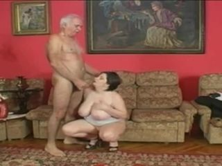 Elderly platinum father penetrates plumper