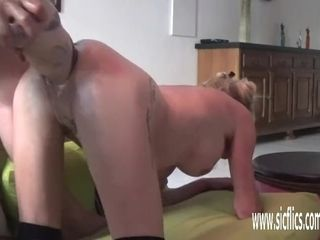 Dual handballing and good-sized fake penis humped inexperienced wifey
