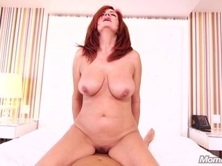 Luxurious ginger-haired mother takes hefty weenie in both fuckholes