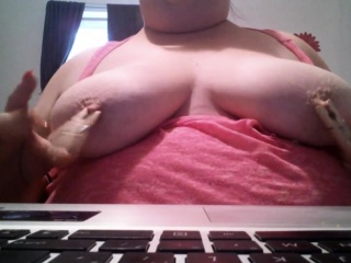 Adult in the matter of fat nipples together with muted pussy upstairs webcam