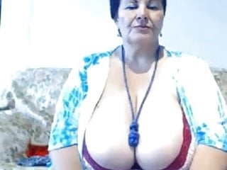 Large titties grandma in big decollete