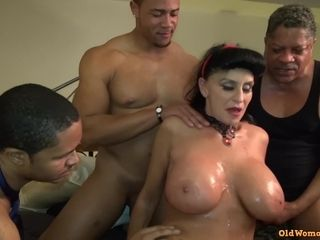 Old Mature Granny Goes Black-potty: Interracial gangbang with busty GILF