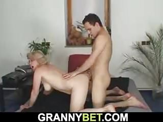 Venerable granny pleases an youngster foreign