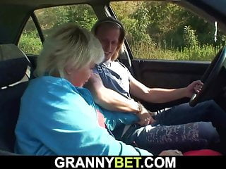 70 years elder grandmother enticed into outdoor hump