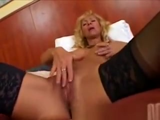 Towheaded Mature sport sweetheart Plays With A giant faux-cock