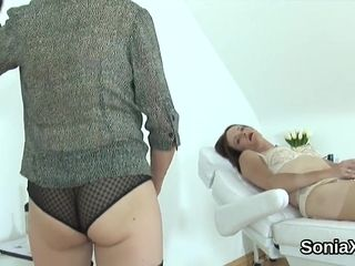 Unfaithful english mature lady sonia pops out her gigantic hooters