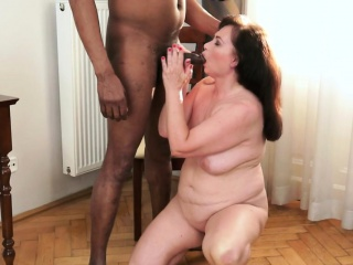 Pussylicked granny drilled by big black cock