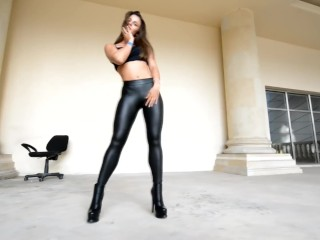 Ambling in Leather stretch pants!