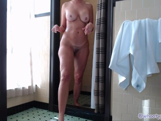 Frolicking And urinating In The bathroom At motel guest room