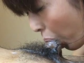 Cute and sweet amateur Asian housewife was blowing hairy cock