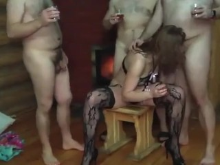 Russian sandy-haired super-bitch wifey humping painal gang-fuck