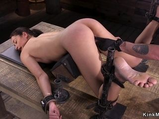 Mummified dark hair female gets rock hard whipped