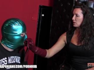 Strap-on Jane predominates her enjoy marionette with fresh leather genjoys stiff rump drill