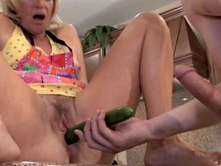 Cucumber And hefty chisel For Mature fuckbox