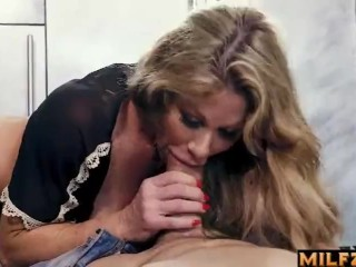 Big-titted mommy deep-throats sonnies gigantic man sausage