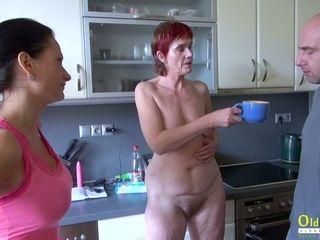 OldNannY Henrieta urinating and rock hard threeway fuck-fest