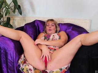 This natural blonde granny still wears thong panties...