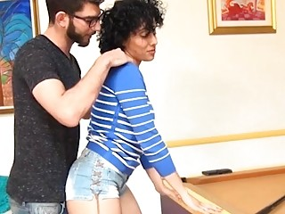 Youthfull man plumbs wondrous  housewife Morena while her husband witnesses