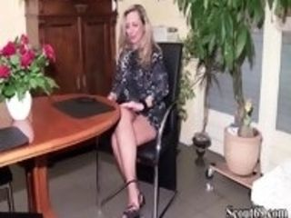 German cougar instruct youthfull cherry man how to drill