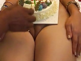 Indian wifey b-day off the hook cake cut on poon