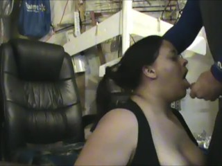 Chubby wifey in dirty workshop gasping on my gigantic weenie