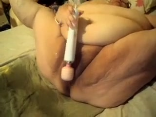 Chubby desiring granny of friend of mine penetrates her snatch with large sex-toy