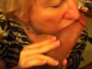 Exhibitionistic granny sucks my juicy cock with passion