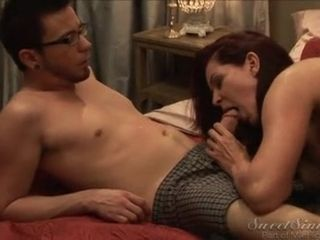 Horny Mom In Pantyhose Sucks Swollen Dick Of Young Hipster