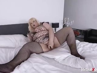 Plus-size mature draining on webcam