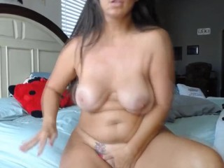 Bodacious milf housewife with rosy cock-squeezing gash and enormous boobs