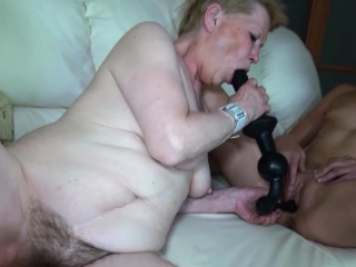 Slim babe and granny sucking cock