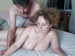 Ginger-haired pallid flesh cougar with humungous all-natural hooters having joy