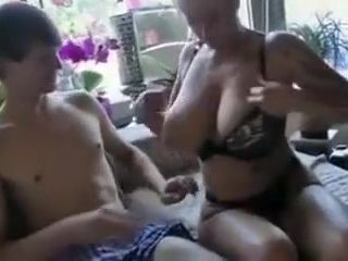 Buxom German mommy drilling With youthful stud
