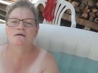 Humungous grandmother pool titties