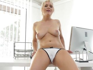 European Blonde Milf Masturbates In The Office