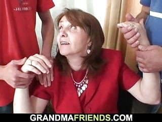 Lord drenching over aged granny takes drenching foreigner both sides