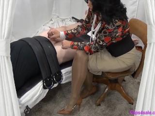 Domina mummy Gives trussed gimp Slow hand job