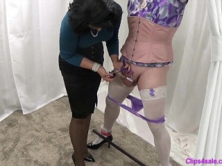 Domina taunts corded Sissy Crossdresser