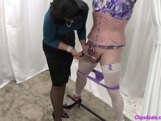 Domina taunts corded Sissy Crossdresser